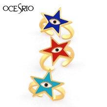 OCESRIO-anillos de estrellas para mujer, sortijas de ojo turco, dorado, mal de ojo, anillos abiertos, esmaltes, joyería ajustable, rig-j19