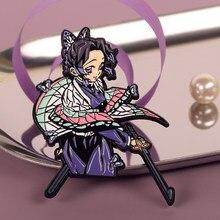 Handgemaakte Kimetsu Geen Yaiba Anime Badge Broche Reversspeldjes Emaille Pin Cosplay Props Metalen Bedge Limited Souvenir Accessoires Geschenken