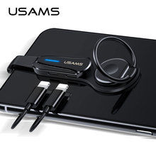 USAMS 2-in-1 Lighting Aux Audio Adapter for iPhone Adapters 3.5 Jack Headphone Earphone Iphone 7 8  Plus X XS