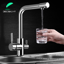 Filter Küche Wasserhahn Chrom Trinken Reines Wasser Küche Tippen Deck Montiert Dual Griffe 3 arten Heiße und Kalte wasser küche Mischer