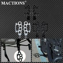 Mactions Flying Knuckle Control Foot Pegs Footpegs Footrests For Harley Sportster 883 1200 XL Dyna Softail Custom Black/Chrome