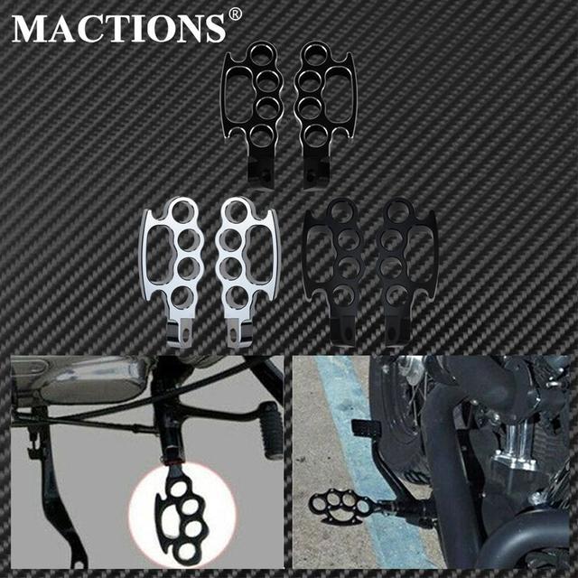 Mactions フライングナックル制御 Foot Pegs フットペグ」ハーレースポーツスター 883 1200 XL ツスターダイナソフテイルカスタム黒/クローム