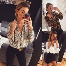 Sexy Womens Leopard T-shirt Long Sleeve Tops 2019 New Autumn Deep V-Neck Leopard