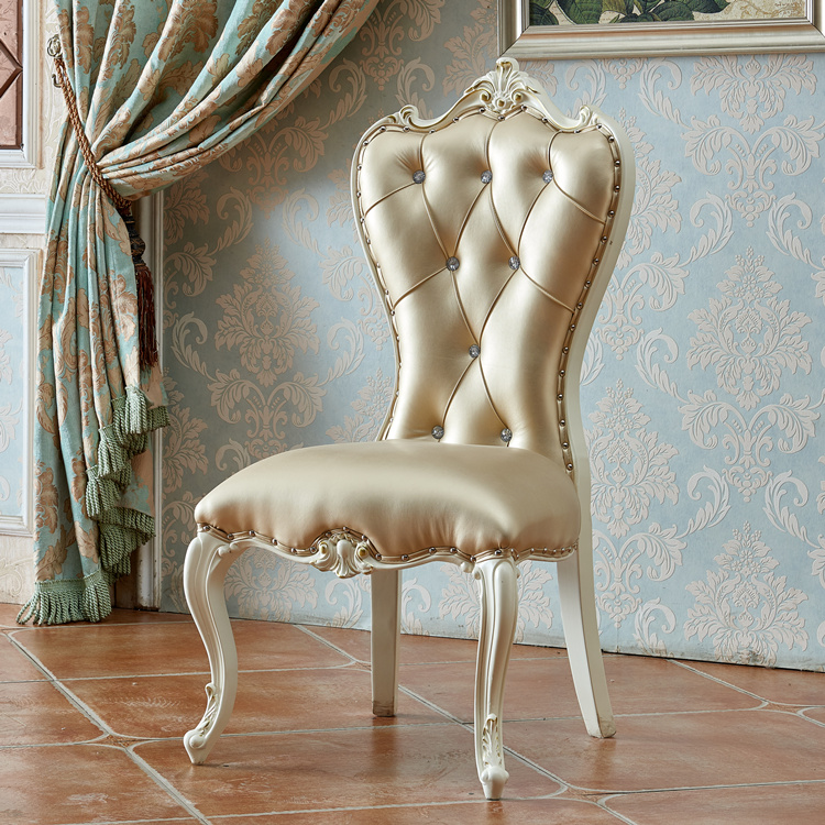 European Dining Chair Modern Minimalist Nail Makeup Chair Home Backrest Dining Room Solid Wood White Throne Chair