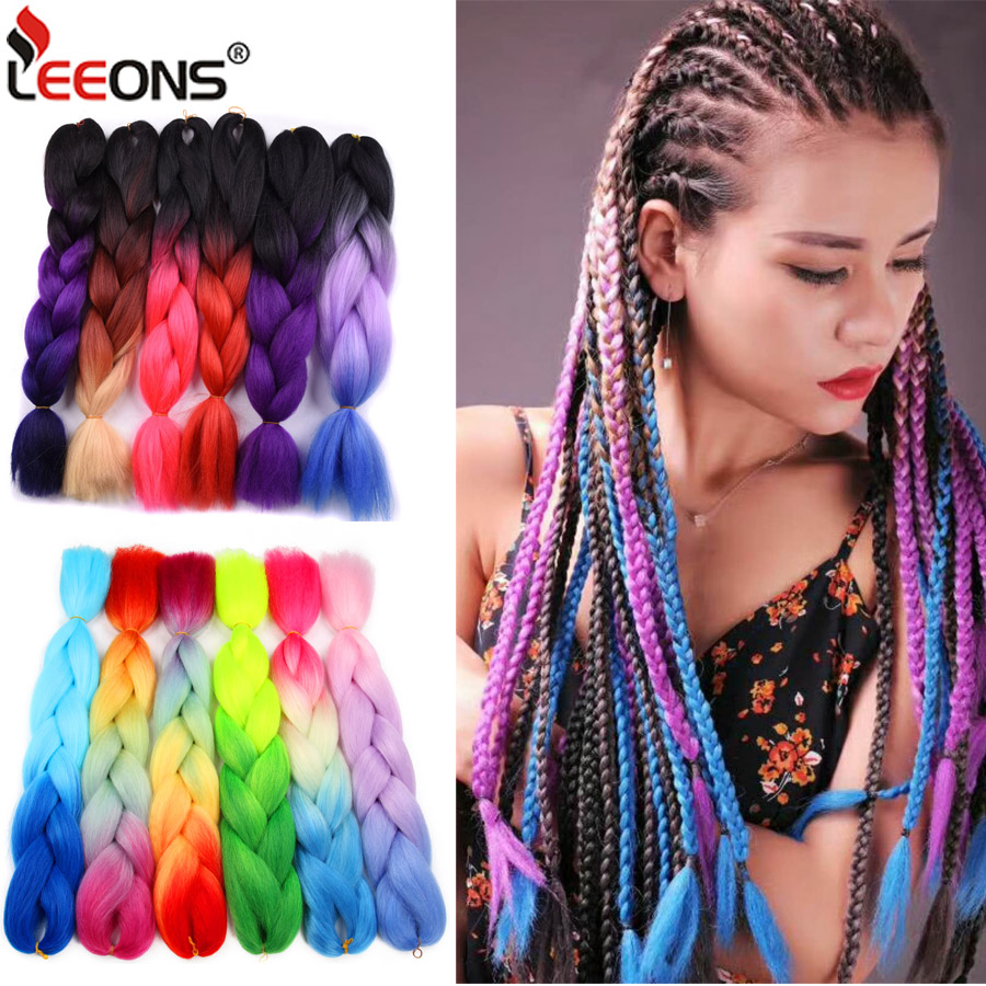 100g/pack 24inch Ombre Braiding Jumbo Braids Hair Two/three Tones Colored Synthetic Crochet Extensions