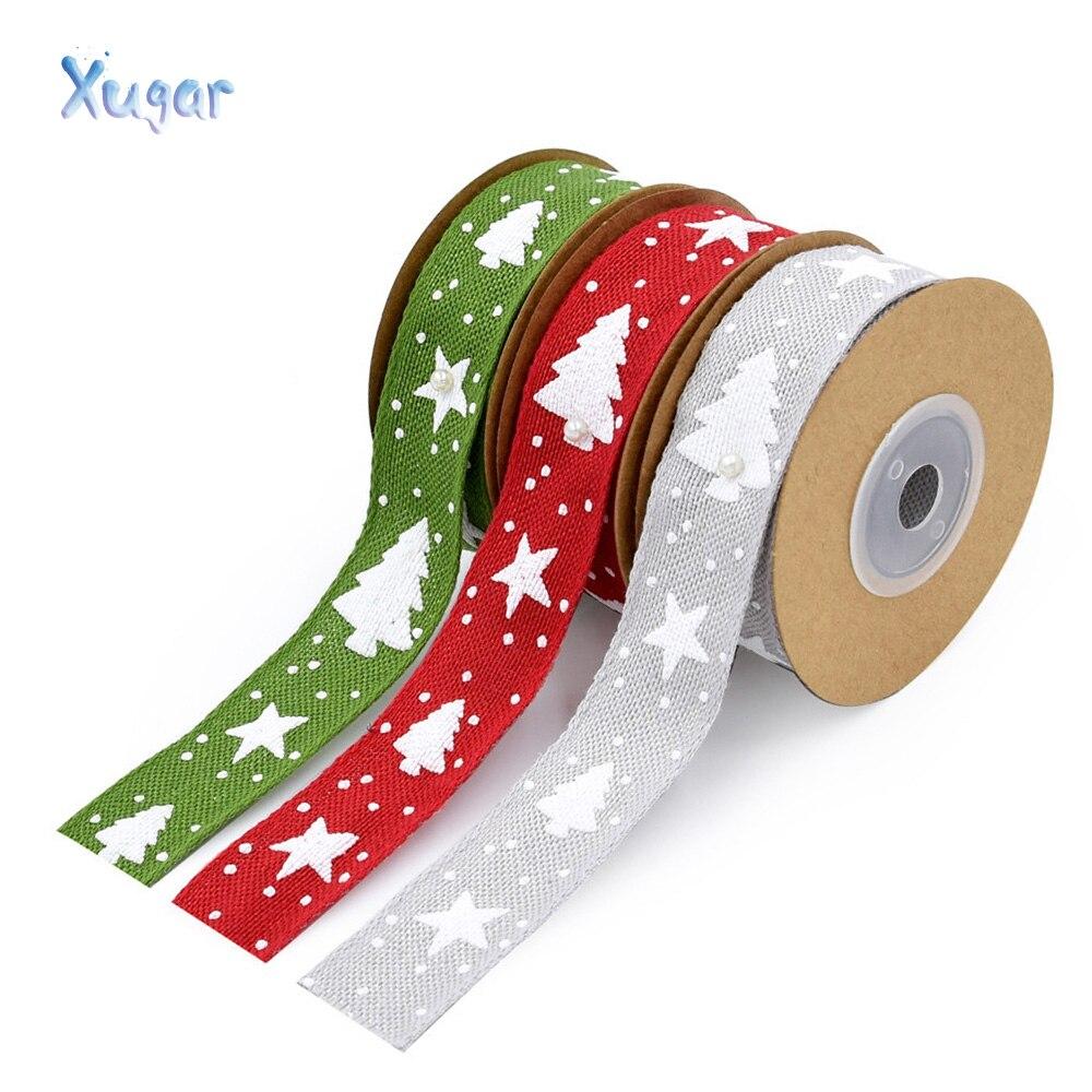 Xugar 25mm 5 yardas Navidad imitación Lino DIY decoración navideña artesanal cáñamo cinta árbol de Navidad decoración cinta