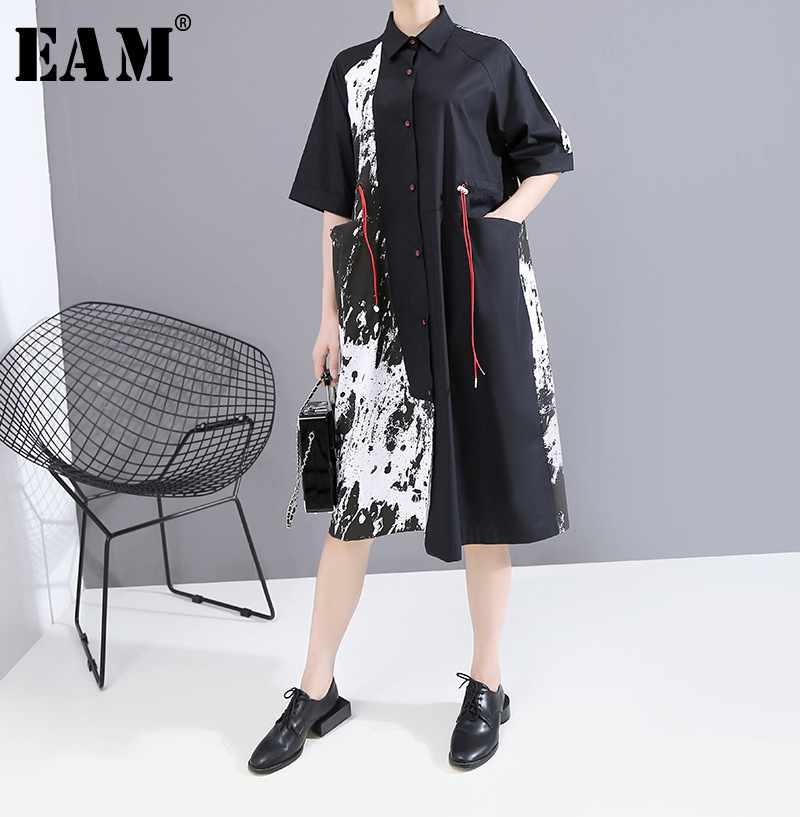 [EAM] Women Blakc Pattern Printed Big Size Shirt Dress New Lapel Short Sleeve Loose Fit Fashion Tide Spring Summer 2020 1T646