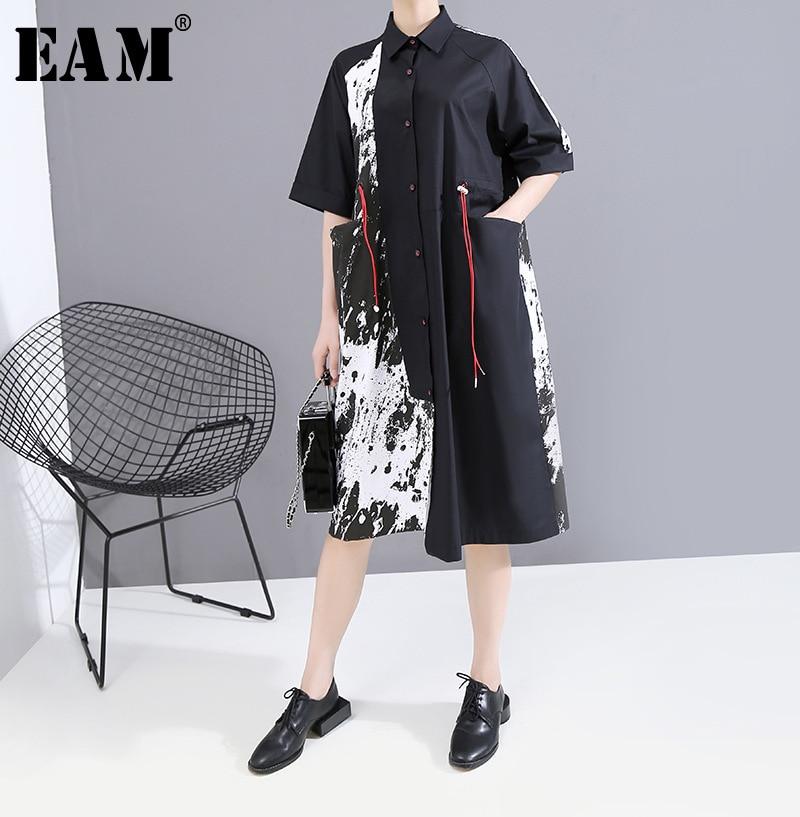 [EAM] Women Blakc Pattern Printed Big Size Shirt Dress New Lapel Short Sleeve Loose Fit Fashion Tide Spring Summer 2020 1T646