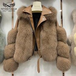 Модные пальто с натуральным лисьим мехом из натуральной овечьей кожи, оптовая продажа, куртка с натуральным лисьим мехом, роскошная верхняя...