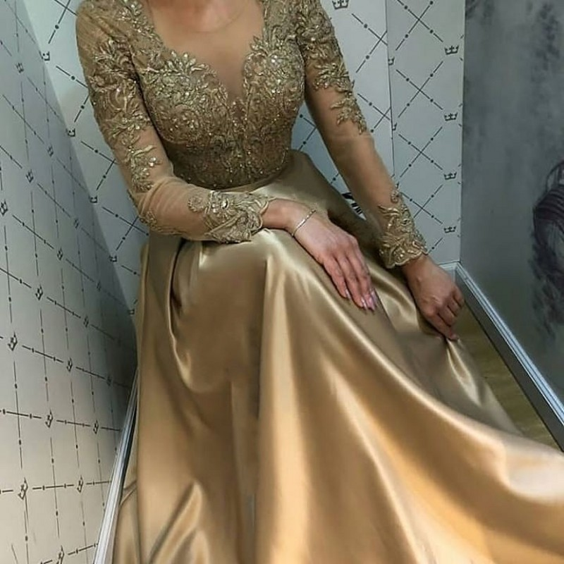 Sexy Elegant Women Formal Party Dress Plus Size Arabic Muslim Gold Long Sleeve Evening Prom Dresses Gown Long 2019
