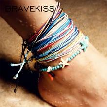 цена на BRAVEKISS Multilayer Starfish Blue bead Beach Anklet Pendant Vintage Handmade Anklets for women Bohemian BOHO Jewelry PA0039