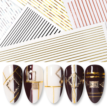 1Pcs Nail Decal and Sticker Gold Silver Metal Curve Strip Lines Adhesive Striping Tape Multi-size 3D Stickers Nail Art DIY Decor 1pcs nail decal and sticker gold silver metal curve strip lines adhesive striping tape multi size 3d stickers nail art diy decor