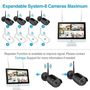 """Image 4 - Techege 8ch 1080p nvr sistema de câmera cctv sem fio 12 """"tela lcd gravação áudio ao ar livre câmera ip kit câmera vigilância segurança"""