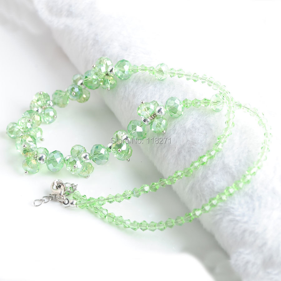 WOJIAER Light Green Crystal Faceted Beads Necklace 18 inches Length Jewelry Lobster Clasp PE3398