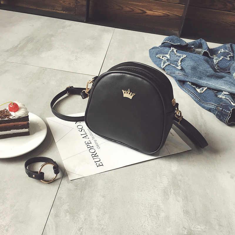 แฟชั่นผู้หญิงกระเป๋าถือกระเป๋าMessengerกระเป๋าหนังPUกระเป๋าLady Crossbodyกระเป๋ามินิหญิงCrownกระเป๋า