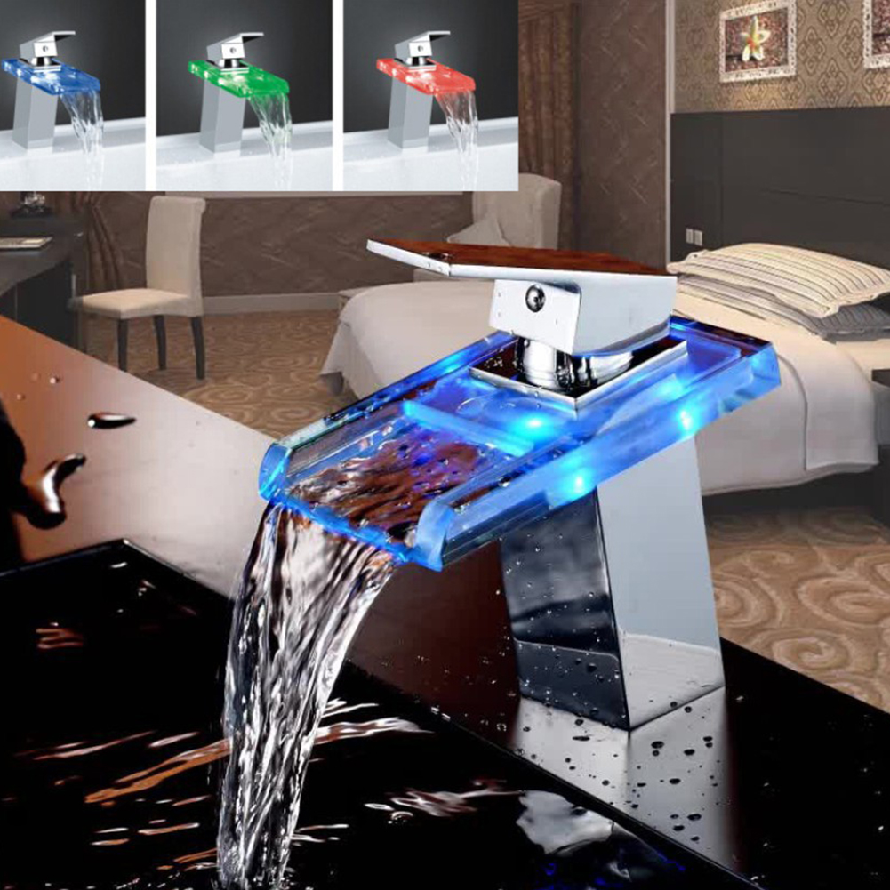 LED robinet de lavabo en laiton cascade température couleurs changement salle de bain mélangeur robinet pont monté lavabo robinets en verre