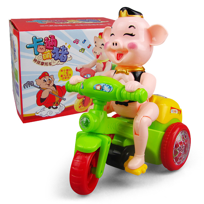 CHILDREN'S Cartoon Electric Pig Stunt Tricycle Light And Sound Stereo Rotating Dancing Educational Toy Car
