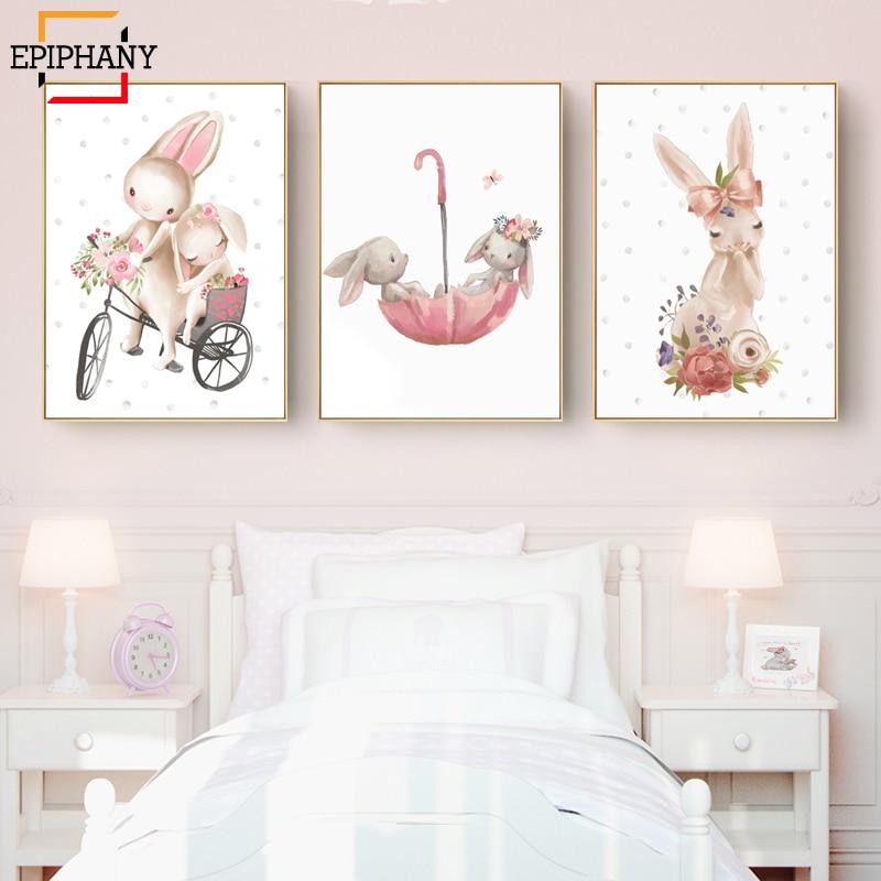 Woodland Bunny Print Floral Boho Nursery Wall Art Rabbit Canvas Painting Posters Cute Cartoon Animal Kids Girls Bedroom Decor