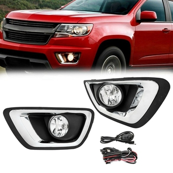 Clear Lens Front Fog Light with Wiring Switch LH+RH Kit for 2015-2019 Chevy Colorado