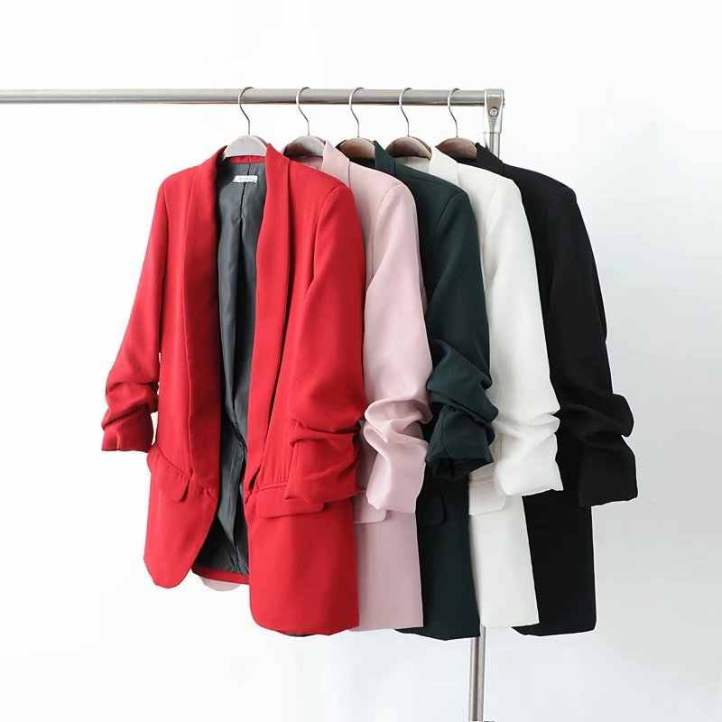 Bianco Giacca Sportiva Delle Donne Dei Vestiti 2020 Primavera Estate Manicotto Dei Tre Quarti Sottile Giacca Per Il Tempo Libero Giacca Rosa