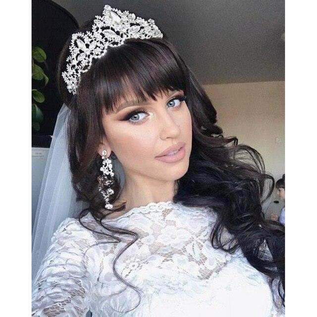 Modna korona panna młoda z pałąkiem na głowę tiary ślubne akcesoria ślubne barokowe kryształowe stroik ślubny Tiara i korona dla kobiet