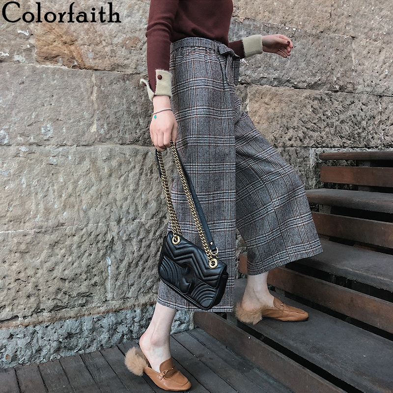 Colorfaith 2020 Spring Fall Women Pants Elastic Waist Casual Wide Leg England Style Plaid Lace Up Wild Ankle-Length Pants P7770