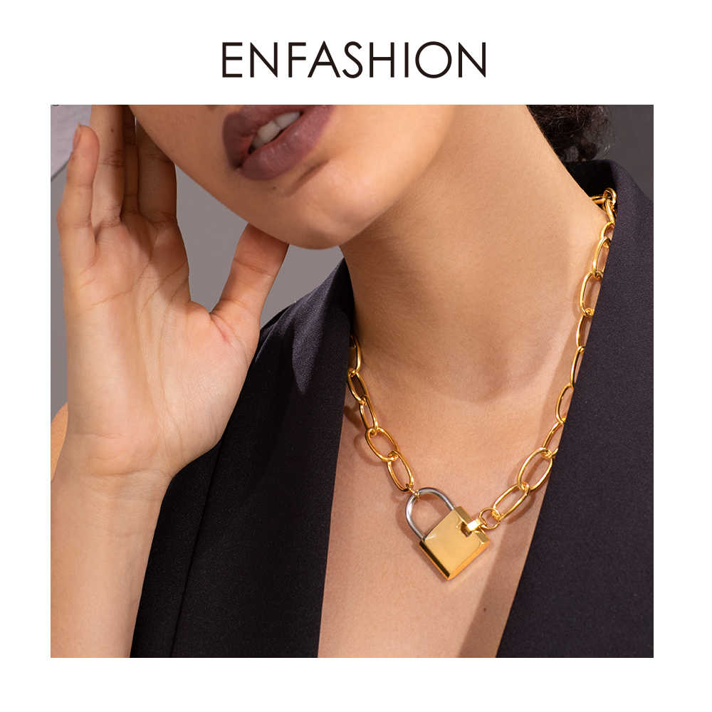 ENFASHION büyük kilit Link zinciri gerdanlık kolye kadınlar altın renk paslanmaz çelik Femme kolye kolye moda takı P193040