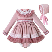 Pettigirl Lace Hem Baby Clothing Set With Velvet Bonnet  Clothes Toddler Boutique Outfit G DMCS206 A348
