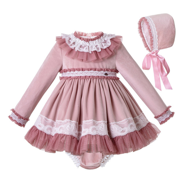 Pettigirl Lace Hem Baby Clothing Set With Velvet Bonnet  Clothes Toddler Boutique Outfit G DMCS206 A348