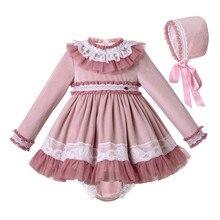 Pettigirl koronkowe brzegi ubranka dla dzieci zestaw z aksamitną czapką ubrania dla maluchów ubranko z butiku G DMCS206 A348