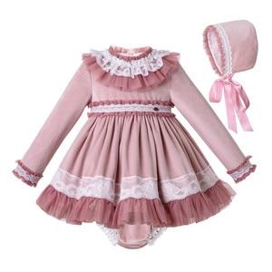 Image 1 - Pettigirl laço hem bebê conjunto de roupas com veludo bonnet roupas criança boutique outfit G DMCS206 A348