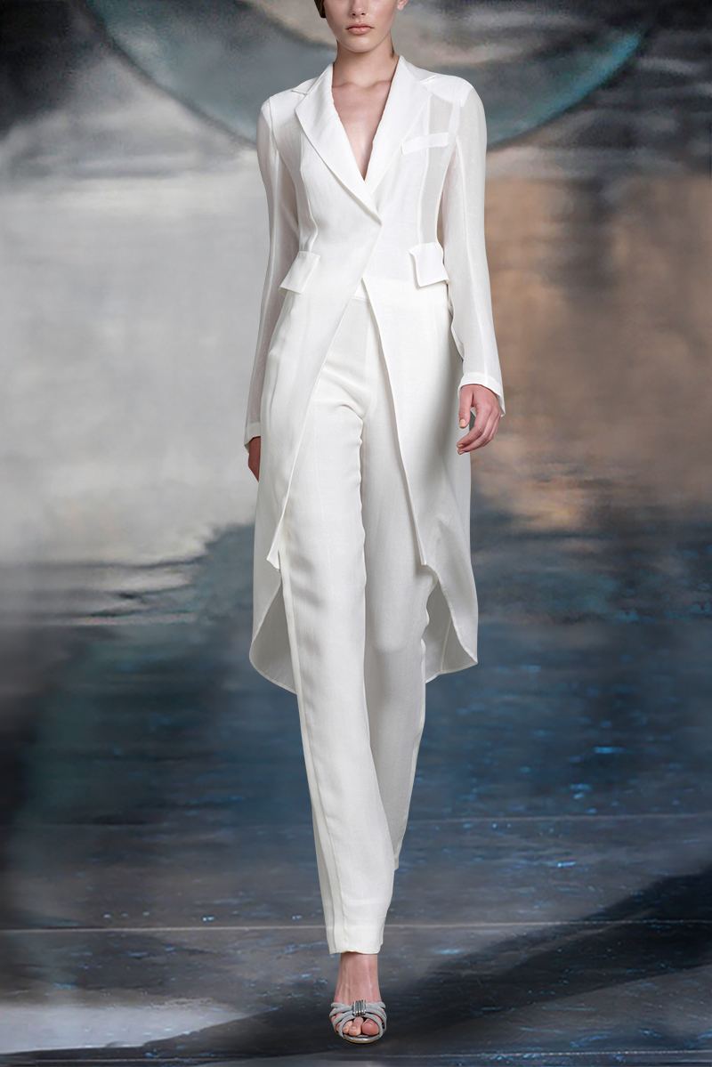 Elegant White Women Blazer Suits Long Jacket Fashion Ladies Pantsuit Costumes Womens Suits Blazer With Pants Custom Made