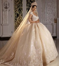 Vintage Robe De Mariee Deep V Neck Appliqued Lace Sleeveless Ball Gown Princess Champagne Wedding Dresses