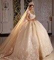 Vintage robe de mariee profundo decote em v appliqued rendas sem mangas vestido de baile princesa champanhe vestidos de casamento