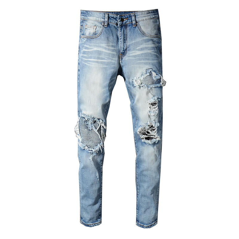 Fashion Streetwear Men Jeans Slim Fit Destroyed Ripped Jeans Men Punk Pants Patchwork Black Blue Elastic Designer Hip Hop Jeans