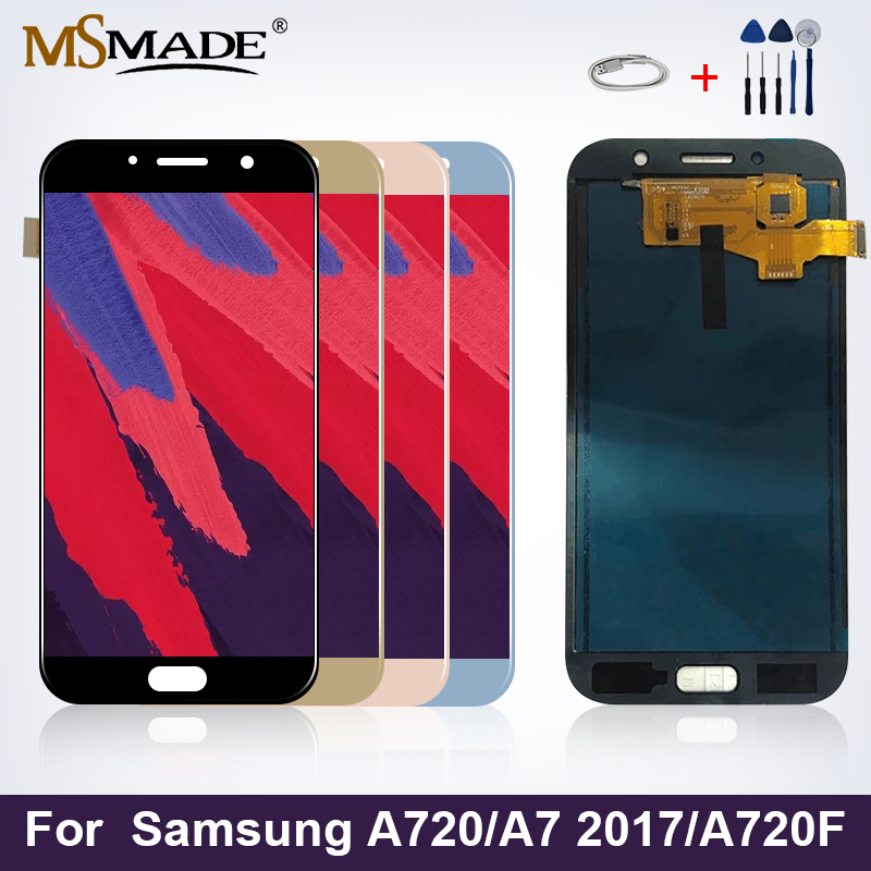 A720 Display For Samsung Galaxy A7 2017 LCD Touch Screen Digitizer Replacement Parts A720F A720M