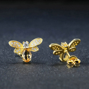 Image 3 - 925 sterling silver earring for women Natural Ametrine stone  jewelry 18K gold plated gemstone stud ear Fashion small bee lover