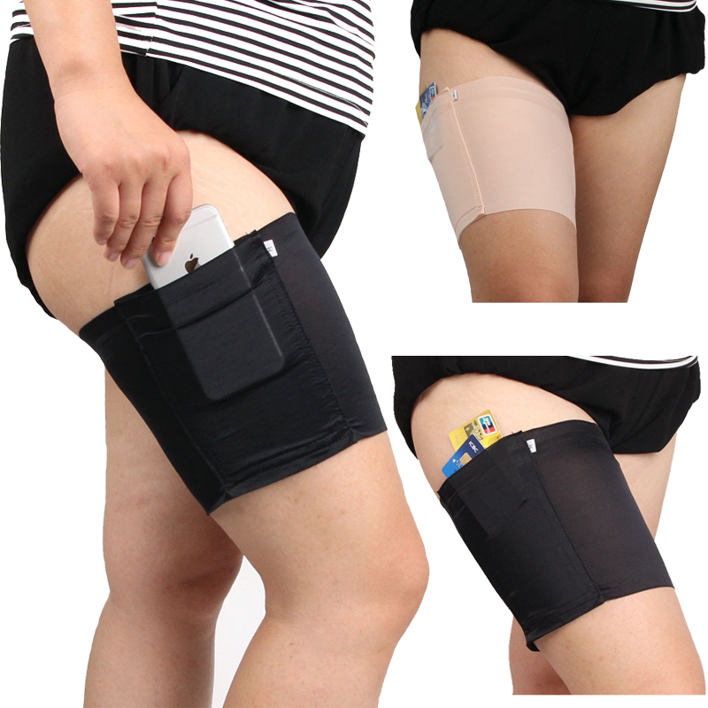 1PCS Women Lace Thigh Bands High Elastic Leg Warmers Cuffs Phone Pocket Card Cell Anti-slip Thigh Pocket Anti Chafing Leg Warmer