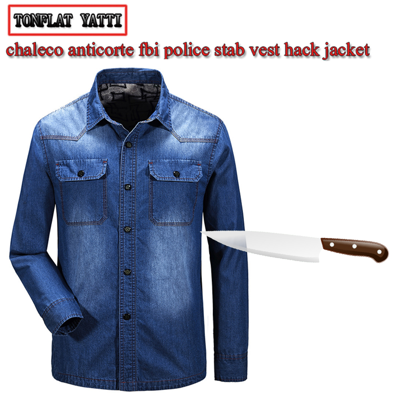 Anti-cut And Stab-resistant Plus Size Men Denim Shirt Self-defense Military Tactics Invisible Police SWAT FBI Safety Clothing