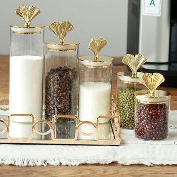 Luxurious retro Gingko leaf brass candy jar transparent storage tank with lid coffee beans Food sealed jar tea storage bottle 1