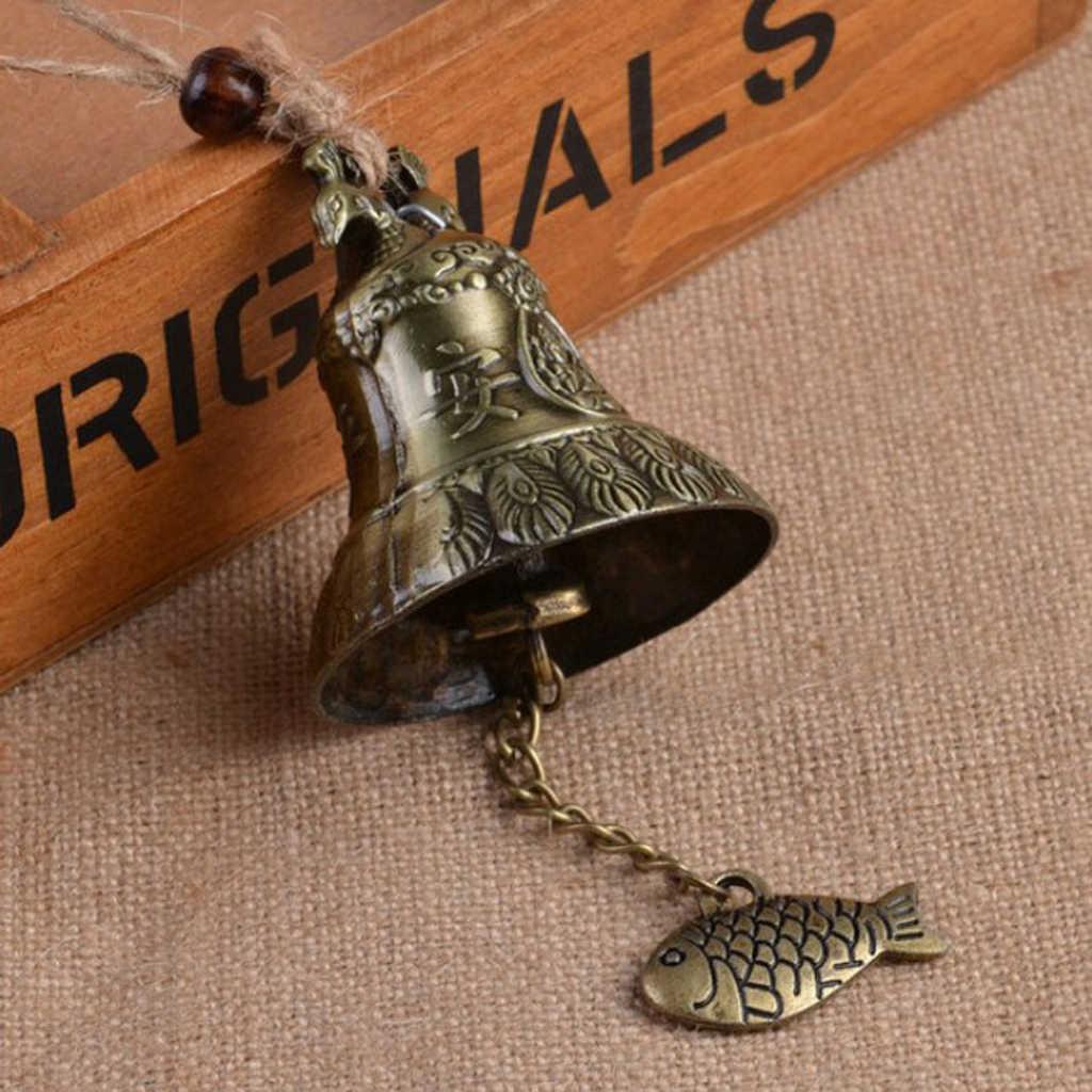Campanilla de jardín estilo Feng Shui chino adorno campanilla de viento rústico 23cm largo Metal campana puerta colgante adorno campana de viento