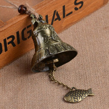 Feng Shui chino estilo campanilla de jardín carillón de viento ornamento rústico 23cm Metal largo campana puerta colgante adorno carillón de viento