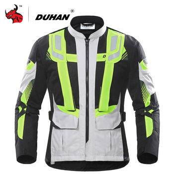 DUHAN Motorcycle Jacket Men Summer Breathable Mesh Moto Protective Gear Reflective Motocross Protection