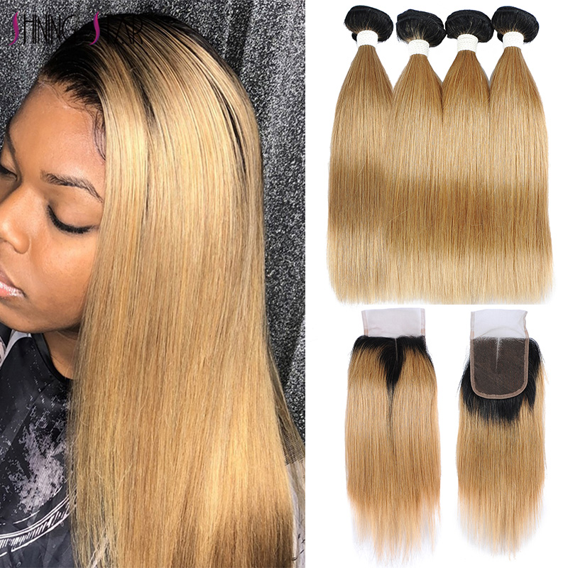 Brazilian 1B 27 4 Honey Blonde Bundles With Closure Human Hair Straight Colored Bundles With Closure Ombre Shining Star Non-Remy