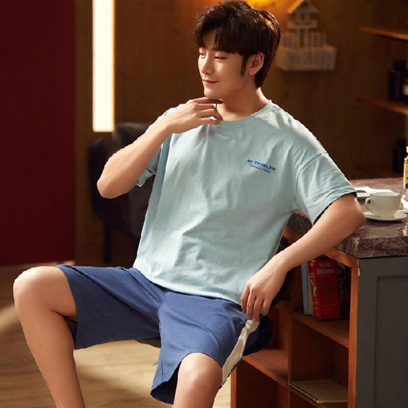 L-3XL Plus Size Summer Knitted Cotton Men's Pajamas Sets Letter Print Tops Shorts Pajama Male Pajama Set Sleepwear Suit Homewear