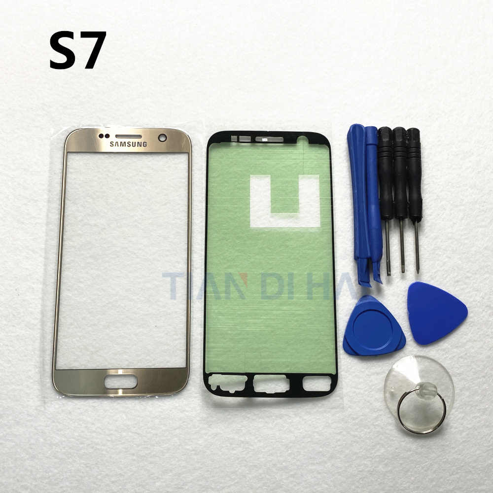 S6 S7 ön dış cam Lens paneli değiştirme için Samsung Galaxy S7 G930 G930F S6 G920 G920F LCD dokunmatik ekran + Sticker + araçları