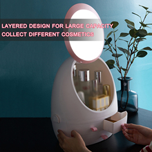 Bathroom Makeup Organizer Cosmetic Organizer Storage Box with Mirror Portable Skin Care Products Large Capacity Storage Case