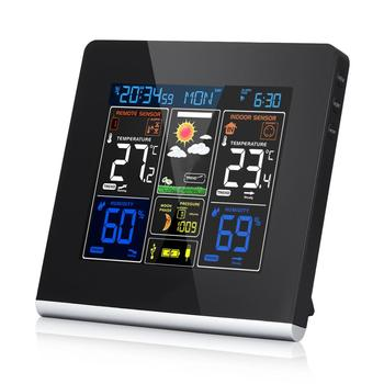 Wireless Color Weather Station With Sensor Alarm Clock With Outdoor/Indoor Temperature, Humidity, Pressure & Moon Phase
