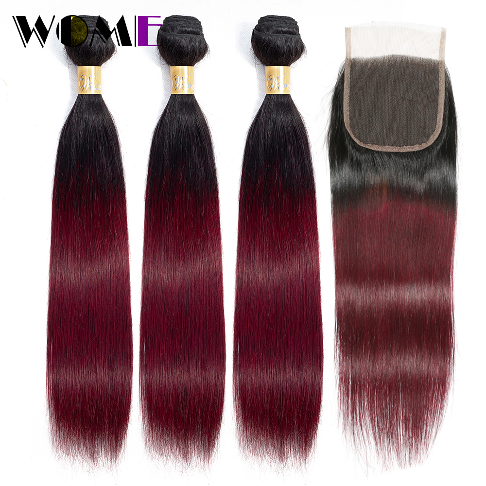 Wome Ombre Bundles With Closure Brazilian Straight Hair T1B/99J Black To Red Wine Hair Weave 3 Bundles With Closure Non Remy