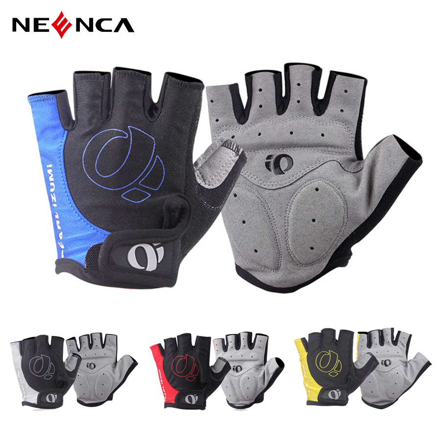Real leather Half Finger Cycling Bike Bicycle Padded Fingerless Sports Motorbike
